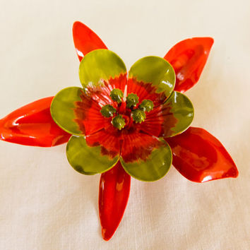 Flower Power Enamel on Metal Orange and Green Brooch