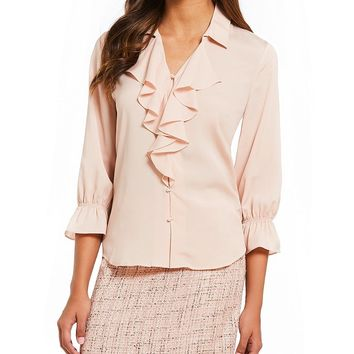 KARL LAGERFELD PARIS Bell Sleeve Ruffle Front Blouse | Dillards