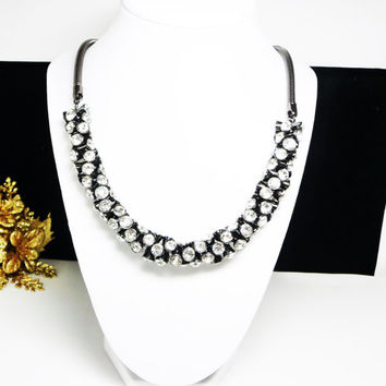 Rhinestone Lariat Necklace - Black Chunky Retro Vintage Necklace - Runway style Bling