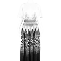 Black & White Op Art Printed Maxi Dress, 1970s