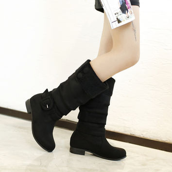 Suede Round Toe Flat Heel Buckle Knee High Boots