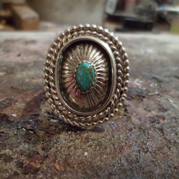 Authentic Navajo,Native American Southwestern sterling silver turquoise vintage-tradition style shadow box concho ring.Size 11,can be adj.