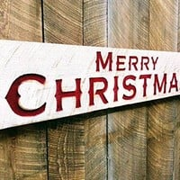 "Merry Christmas Sign-Large 48""x10"" Porch Holiday Decor"