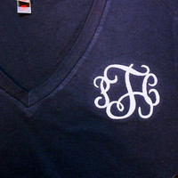 V Neck Monogram Short Sleeve Tee  Font shown INTERLOCKING