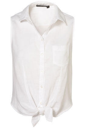 Sleeveless Tie Front Shirt - Tops  - Clothing