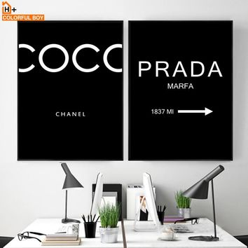 COLORFULBOY Paris Fashion Quotes Black White Posters And Prints Wall Art Canvas Painting Wall Pictures For Living Room Bar