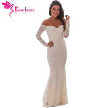 DearLover Spring 2018 Woman Party Long Sleeve Dress Sexy White Crochet Lace Off Shoulder Maxi Dress Runway Vestido Longo LC61847