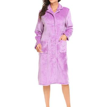 Ekouaer Soft Women's Warm Robe Lapel Long Sleeve Plush Button Down Bathrobe