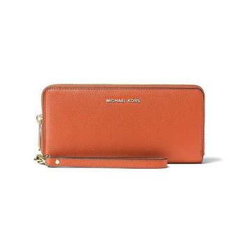LMFON Michael Kors Mercer Zip Around Travel Continental Leather Wallet