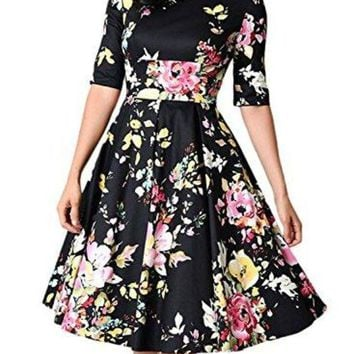 ONETOW Sidefeel Women Vintage 1950's 3/4 Sleeve Floral Print Pleated Cocktail Swing Dress(S-XXL)