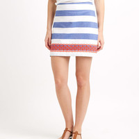 Stripe Embroidered Skirt