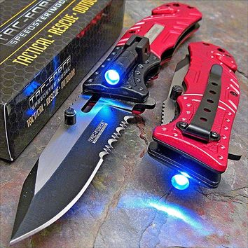 TAC-FORCE Red SHERIFF Spring Assisted Open LED Tactical Rescue Pocket Knife