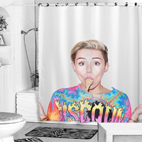 miley cyrus ice cream face shower curtain