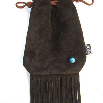 Dark Chocolate Suede Leather Neck Pouch, Hip Bag, Fringe Satchel with Turquoise Stud
