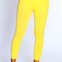 Yellow Stretchy Fit Active Wear Leggings