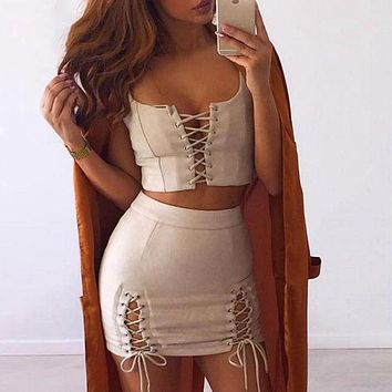 Sexy Lace Up Leather Suede Mini Pencil Dress Women Party Two Piece Bodycon Short Dresses