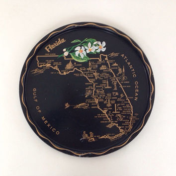 Vintage Florida State Souvenir Tray, State Maps, Flowers and Capitals, Orange Blossom, Tin Tray, Serving Tray, Black