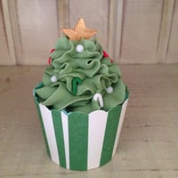 Christmas Tree Cupcake Bubble Bath Bomb with Sugar Scub Frosting All Natural Bath Bomb