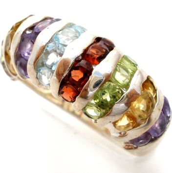 Sterling Silver Ring with Multi Color Gemstones Size 8