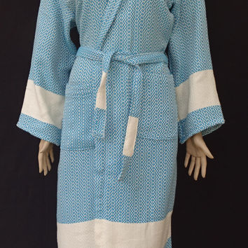 Turquoise colour diamond patterned Turkish soft cotton thick hooded bathrobe, dressing gown.