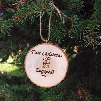 Christmas Ornament, Engagement, First Christmas Engaged Christmas Ornament, Wood Slice Ornament,  Rustic Christmas Ornament, Wood Ornament