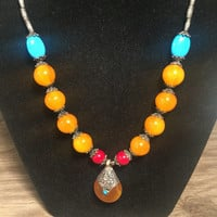 Orange Red Turquoise Gem Necklace, Stunning Designs, Boho Necklace, Southwestern Flare, Glowing Orange and Blue, Tribal, Statement Necklace
