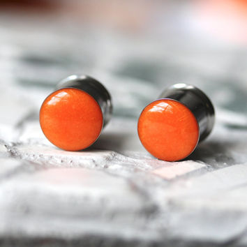 Orange Ear Gauges, Pumpkin Plugs, Autumn Ear Plugs, Halloween Gauges - sizes 4g, 2g, 0g, 00g, 7/16, 1/2, 9/16, 5/8, 3/4, 7/8, 1""