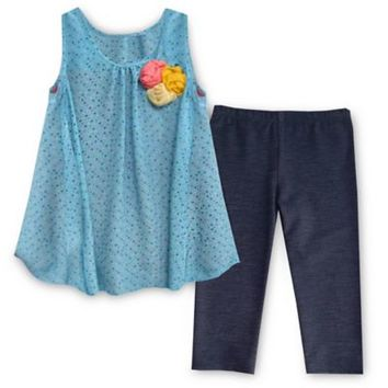 Pippa & Julie™ 2-Piece Floral Flyaway Tunic and Legging Set in Blue
