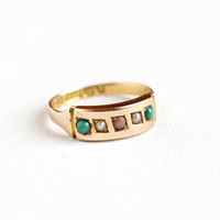 Antique Victorian 15k Rosy Yellow Gold Green Turquoise , Pearl  & Opal Ring - Size 7 Vintage Hallmarked English Birmingham 1895 Fine Jewelry