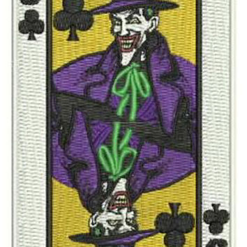 "4"" Joker Gang Goon Playing Card Patch - THUG Batman 1989 Movie TV ArKham asylum Trick Anarchy Hooligan 1%"