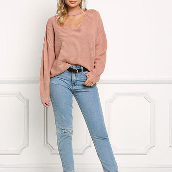 Blush Choker Chunky Knit Sweater Top