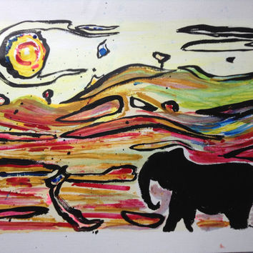 Elephant painting-original artwork for wall decor,African wildlife and nature inspired decoration,canvas poster