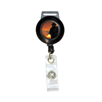 Firefighters fighting Fire - Firemen Retractable Badge Card ID Holder