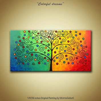 Large 18 x 36 Inches #Original #Acrylic painting of whimsical colorful tree on gallery wrapped Canvas