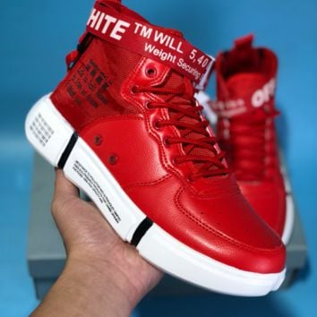 KUYOU N597 Nike Air Force 1 AF1 Off White TM Will 5400 High Leather Skate Shoes Red