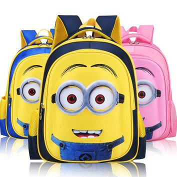 2017 Fashion Despicable Me 2 Kids Cartoon School Bags Child Backpack Minions Schoolbag 6-12Y Kids Cute Bags mochila escolar