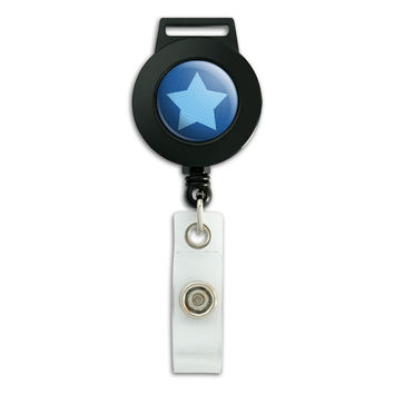 Dotty Star Blue Retractable Badge Card ID Holder