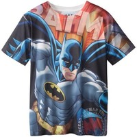 DC Comics Big Boys' Batman Sublimation Tee, Gray, 10/12