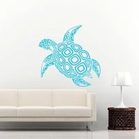 Sea Turtle Wall Decal Ocean Sea Animals Tortoise Decals Wall Vinyl Sticker Home Interior Wall Decor for Any Room Housewares Mural Design Graphic Bedroom Wall Decal Bathroom (5996)