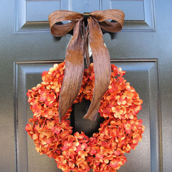 Front Door Wreath, Fall Wreath For Door, Orange Hydrangeas, Autumn Decor For Home