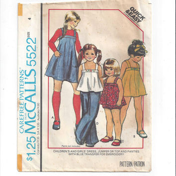 McCall's 5522 Pattern for Girls' Dress, Jumper, Top, Panties with Embroidery Transfer, Size 4, From 1977, Vintage Pattern, Easy Home Sew