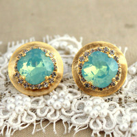 Mint Crystal stud big round earring - 14 k plated gold post earrings real swarovski rhinestones.