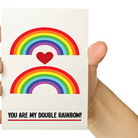 $3.75 Funny Valentine Card You are my double rainbow  5X7 by TheWallaroo