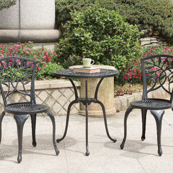 Furniture of america CM-OT1701BK 3 pc courtnay black cast aluminum frame patio table and chairs set
