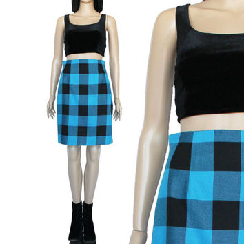 90s Blue Black Plaid Skirt High Waist  Preppy Clueless Hipster Goth Clothing Women's Size Small
