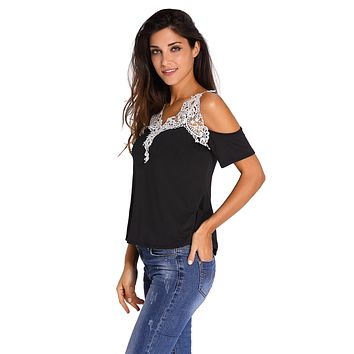 Crochet Detail Black Cold Shoulder Short Sleeve Top