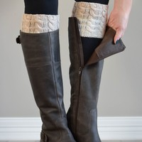 Oatmeal & Ivory Reversible Ombre Boot Cuff