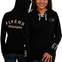 Philadelphia Flyers Old Time Hockey Women's Queensboro Lace-Up Slim Fit Hooded Sweatshirt - Black
