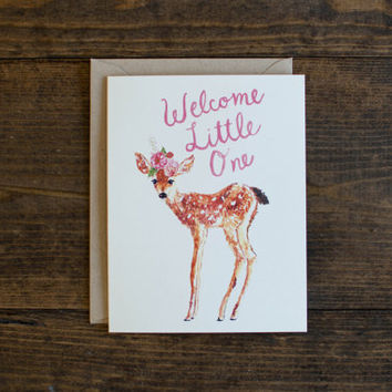 New baby card - welcome little one - flowers - baby deer - baby girl