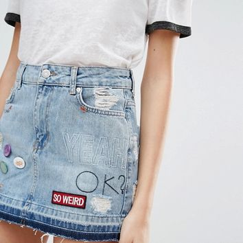 Pull&Bear Denim Skirt with Patches at asos.com